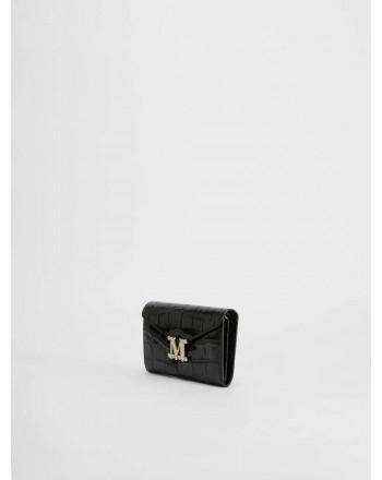 MAX MARA - Crocodile print leather wallet  - Black -