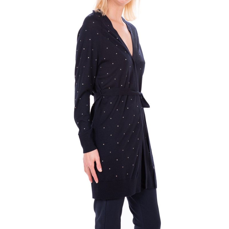 MAX MARA - Cardigan lungo FRIDA in pura lana - Blu Marino