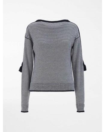 MAXA MARA - Pure wool yarn sweater - Navy Blue / White