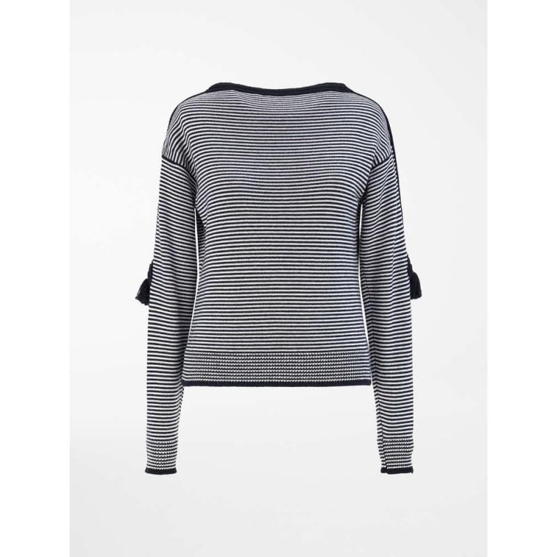 MAXA MARA - Maglia in filato di pura lana - Blu Marino/Bianco