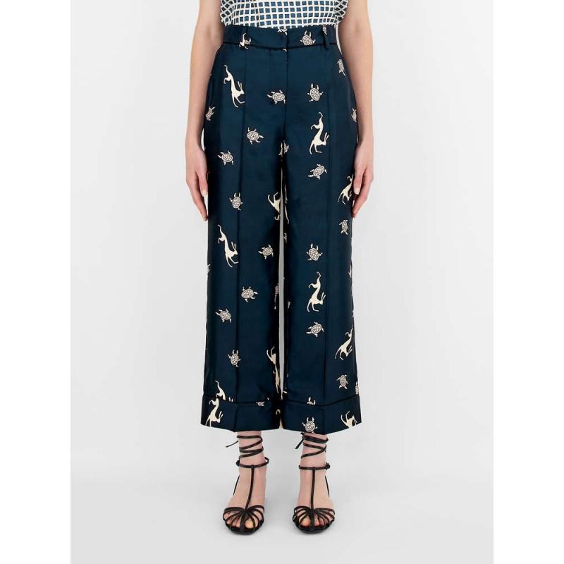 S.MAX MARA - Pantaloni in twill di seta - Blue