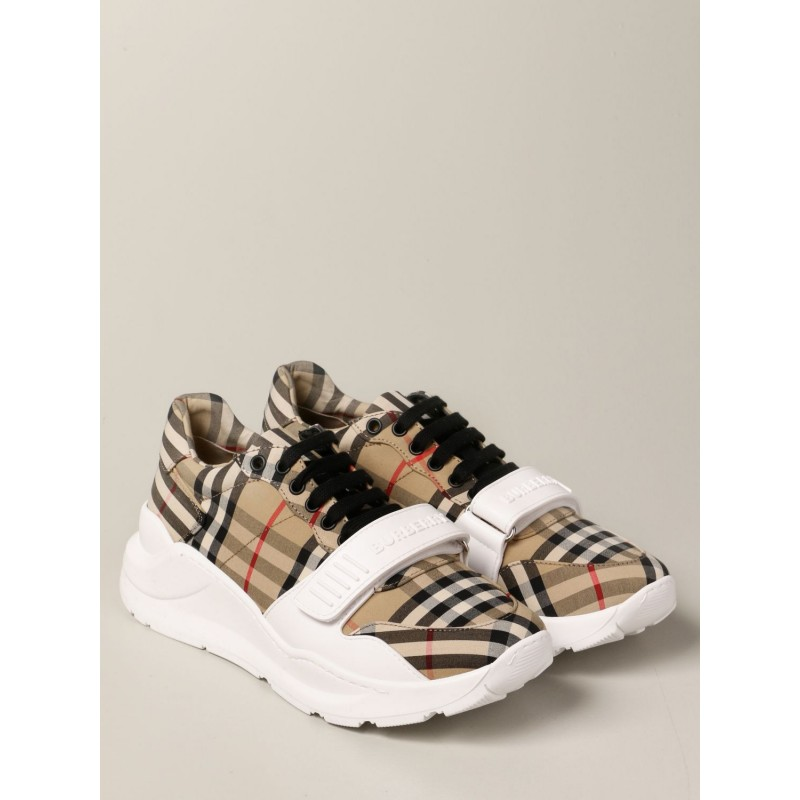 BURBERRY - Sneakers in check canvas - Archive Beige
