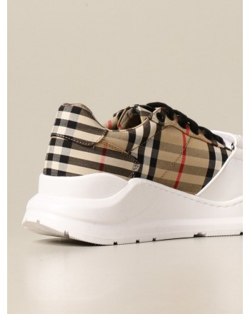 BURBERRY - Sneakers in tela check - Archive Beige