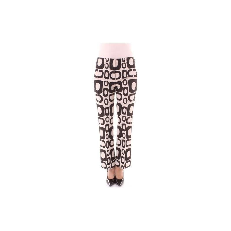 S MAX MARA - Pantalone Rivolo cotone  - Bianco/Nero -