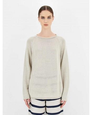 S.MAX MARA - Linen yarn sweater - Ecru