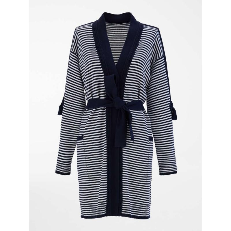 MAX MARA - Cardigan in filato di pura lana - Blu Marino/Bianco