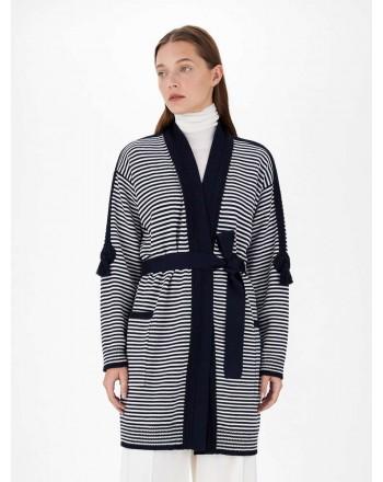 MAX MARA - Pure wool yarn cardigan - Navy / White