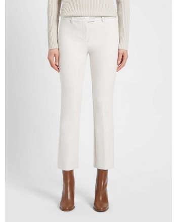 S MAX MARA - Cotton and viscose trousers - White -