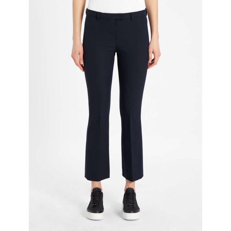 S MAX MARA - Cotton and viscose trousers - Dark Blue -
