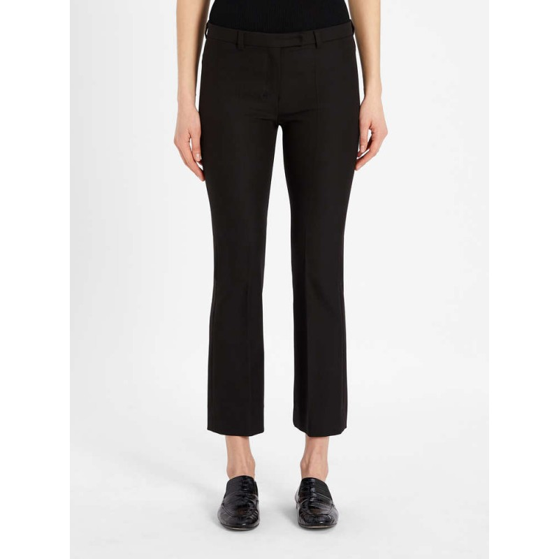 S MAX MARA - Cotton and viscose trousers - Black -