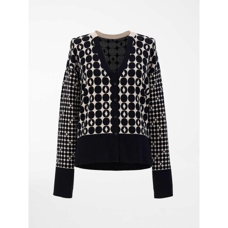 S MAX MARA - PAPIRO Silk yarn cardigan - Black / Ivory -
