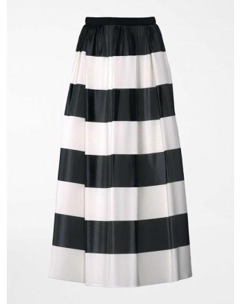 MAX MARA STUDIO - Silk Organza Striped Skirt HOYO- Ivory/Black