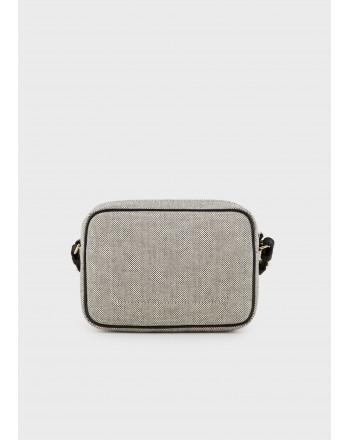 EMPORIO ARMANI - Camera Case Canvas Shoulder Bag- Dark Brown/Leather