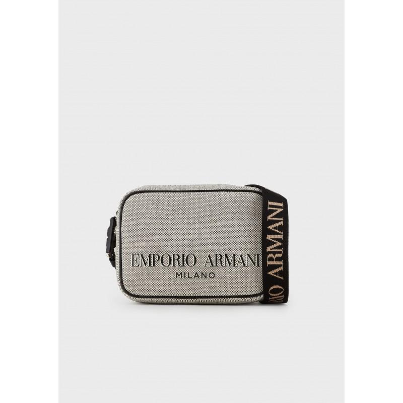 EMPORIO ARMANI - Borsa a Tracolla Camera Case in Canvas - Moro/Cuoio