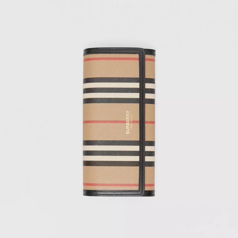 BURBERRY - HALTON Check Wallet - Archive Beige