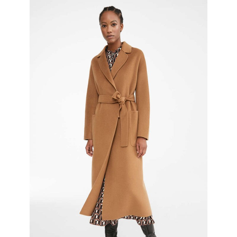 S MAX MARA -  AMORE  Wool and Cashmere Long Coat - Leather