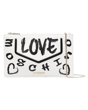 LOVE MOSCHINO - Pochette Logo Graffiti - Bianco/Nero