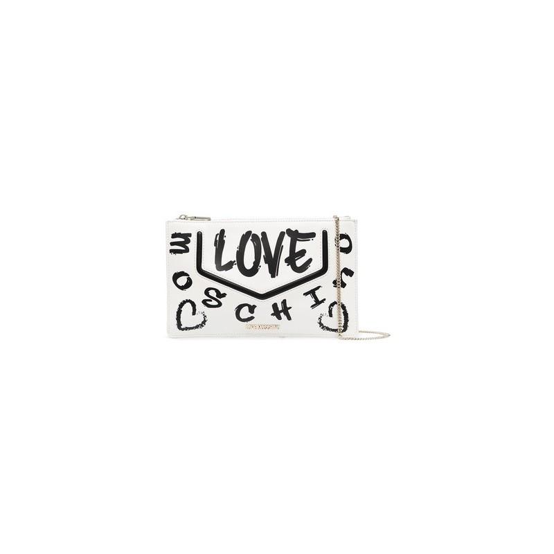 LOVE MOSCHINO - Graffiti Logo Clutch Bag -White/ Black