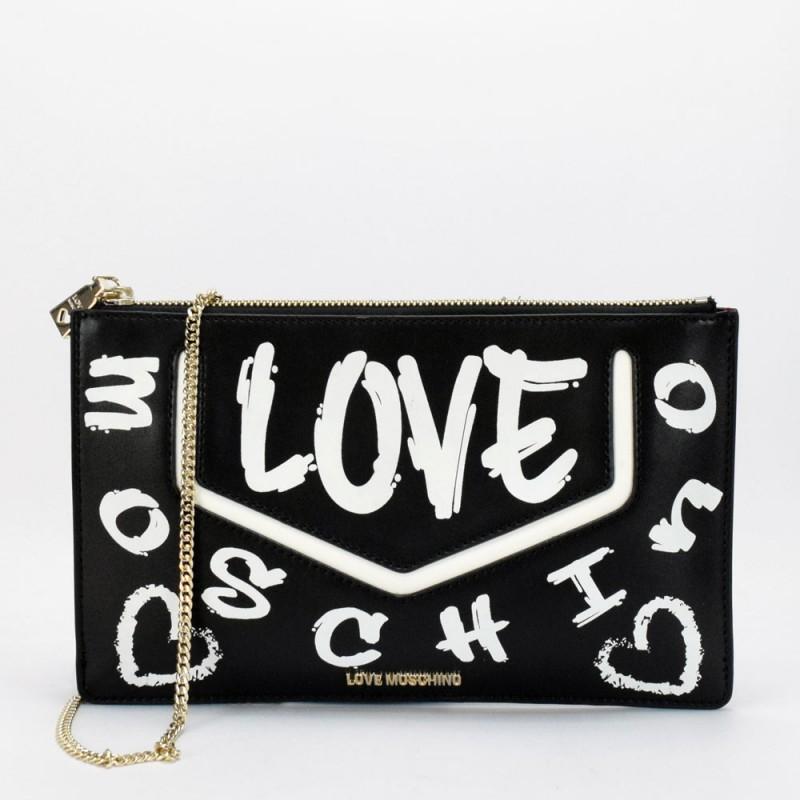LOVE MOSCHINO - Graffiti Logo Clutch Bag -Black/White