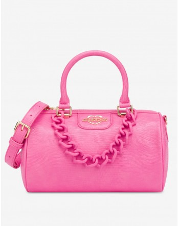 LOVE MOSCHINO - HEART CHAIN Top Case Bag - Pink