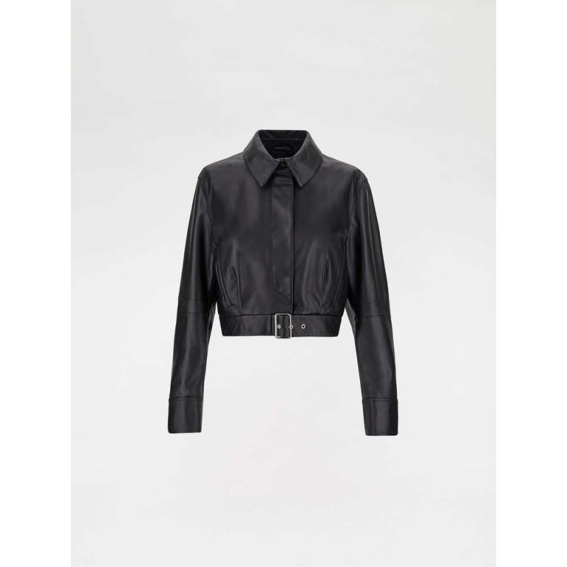 SPORTMAX -BARI  Nappa leather biker jacket -Black