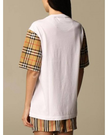 BURBERRY - Cotton T-shirt with check sleeves - White