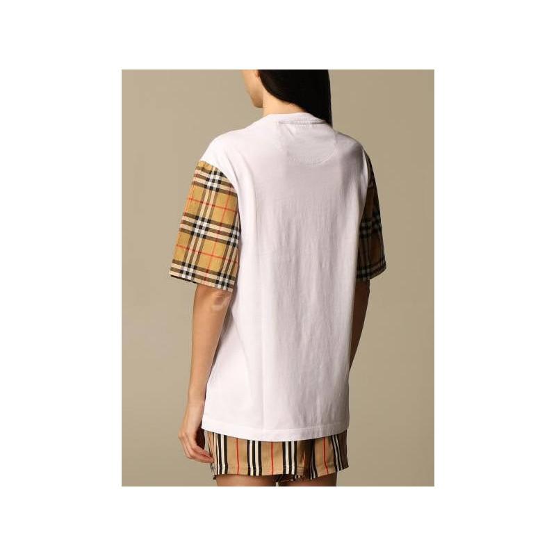 BURBERRY - T-shirt in cotone con maniche  check -  Bianco