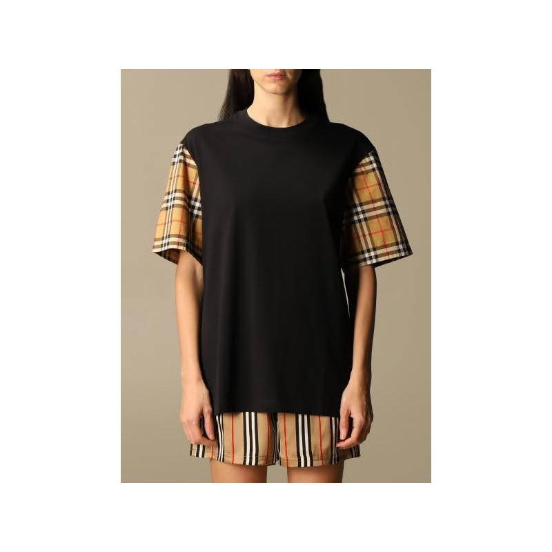 BURBERRY - T-shirt in cotone con maniche check - Nero