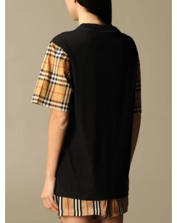 BURBERRY - Cotton T-shirt with check sleeves - Black