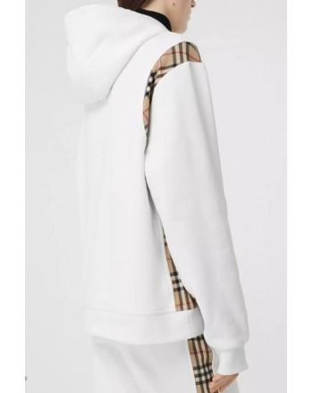 BURBERRY - Felpa oversize con cappuccio e inserti check - Bianco