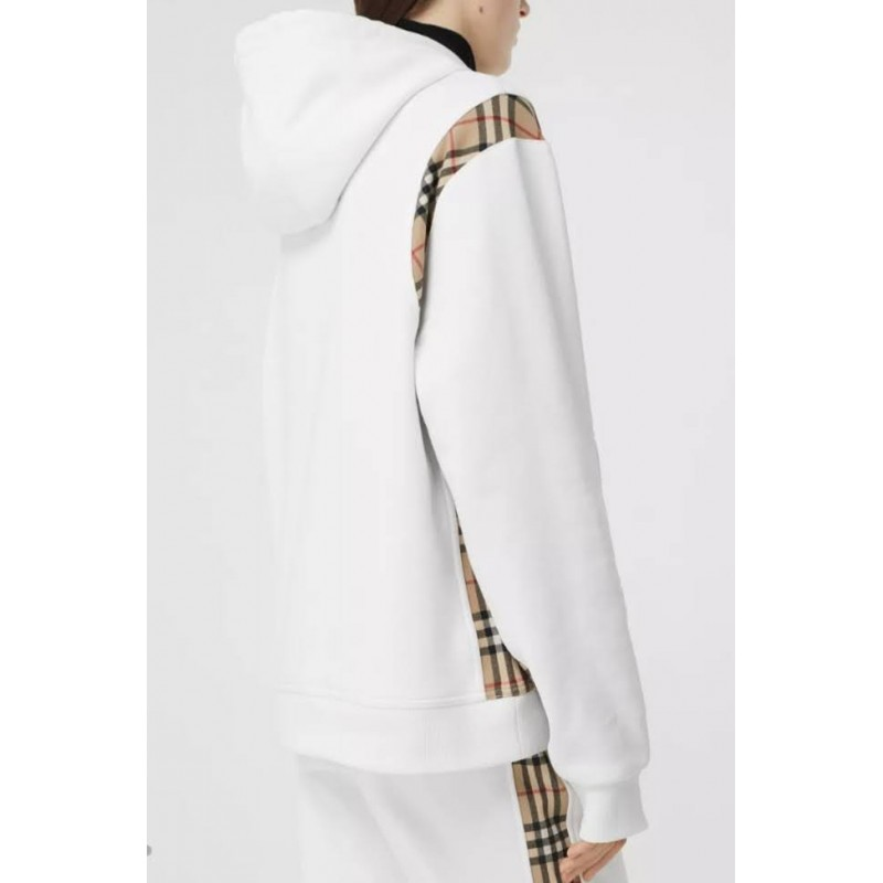 BURBERRY - Oversized sweatshirt with hood and check inserts - White