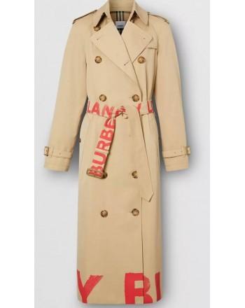 BURBERRY - Cotton gabardine trench coat with logo print - Honey