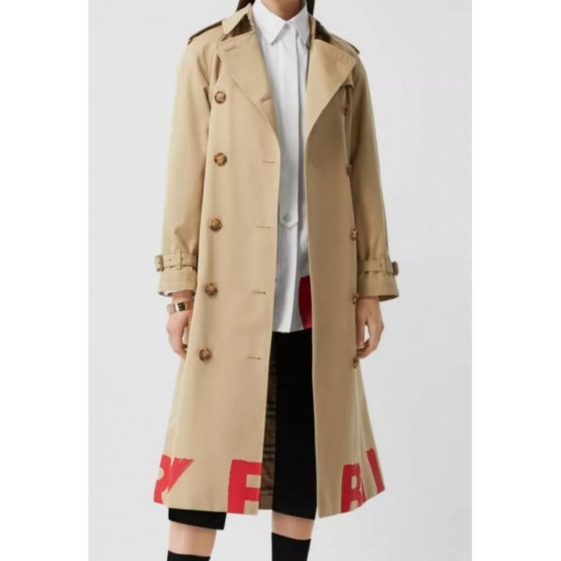 BURBERRY - Trench coat in gabardine di cotone con stampa con logo - Honey