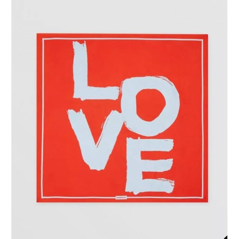 BURBERRY - Foulard in seta con stampa Love - Rosso/Cielo