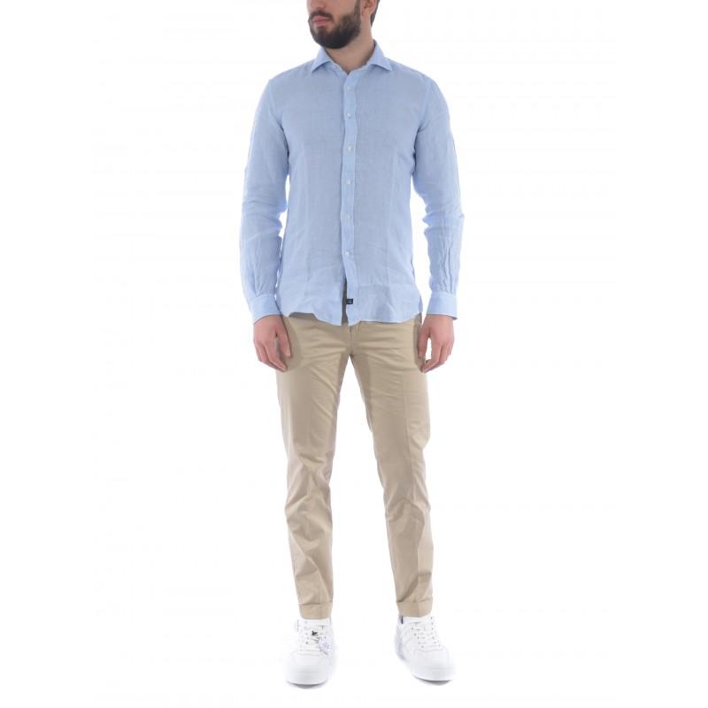 FAY - French collar shirt - Light blue -