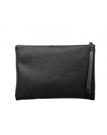 CALVIN KLEIN - Leather Wrist Bag - Black