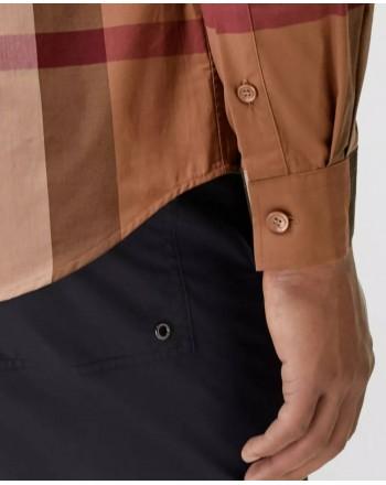 BURBERRY - Stretch cotton shirt with tartan motif - Birch Brown Check