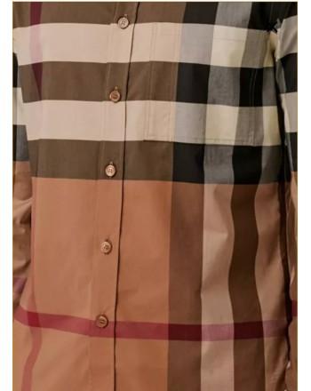 BURBERRY - Camicia in  cotone stretch  motivo tartan - Birch Brown Check