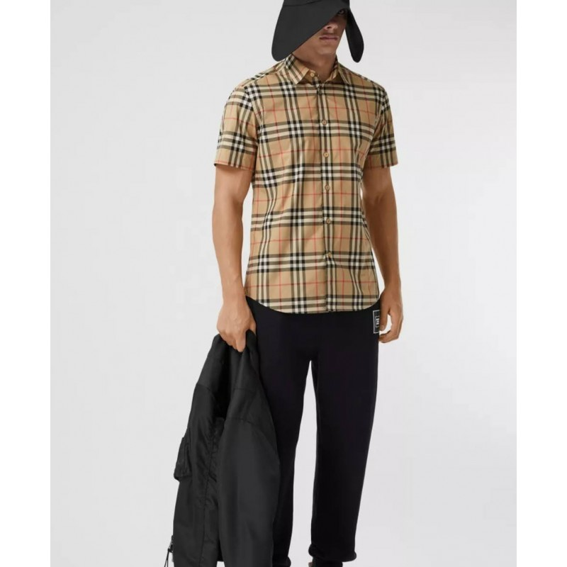 BURBERRY - Checked short sleeve shirt - Archive Beige