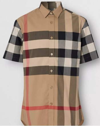 BURBERRY - Short-sleeved shirt with check pattern - Archive Beige