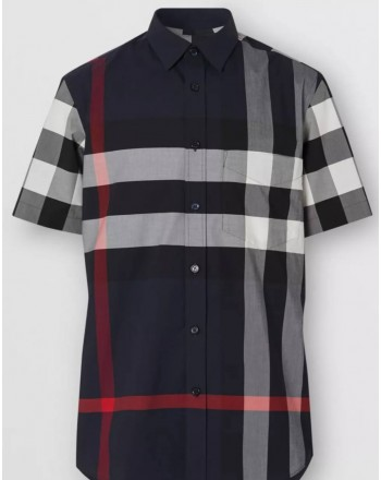 BURBERRY - Short Sleeve Shirt With Check -Navy Check Pattern