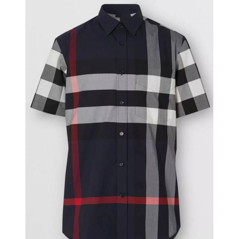 BURBERRY - Camicia A Maniche Corte Con Motivo Check -Navy Check