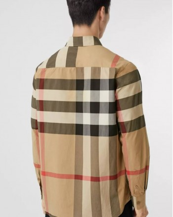 BURBERRY - Oversized shirt with check motif and Love writing - Archive Beige