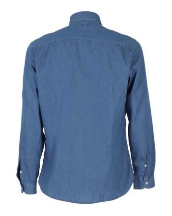 FAY - French Collar Shirt with Logo - Denim -