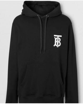 BURBERRY - Cotton hoodie with monogram - Black
