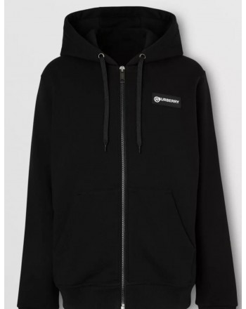 BURBERRY - Hooded sweatshirt with inserts and logo print - Black