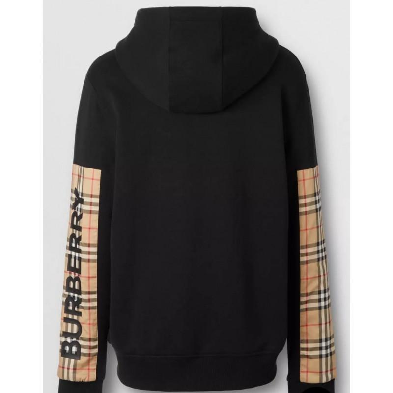 BURBERRY - Felpa con cappuccio  con inserti e stampa del logo - Nero