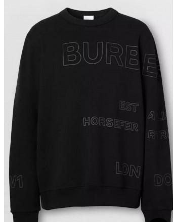 BURBERRY - Felpa in cotone con stampa Horseferry - Nero