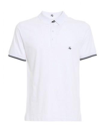 FAY - Polo in piquet con logo al petto - Bianco -