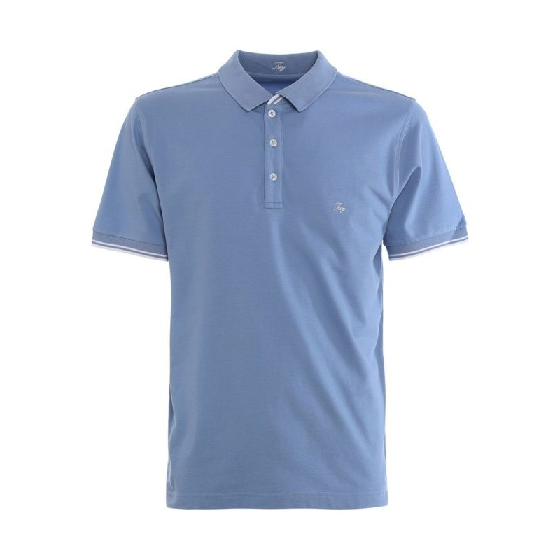 FAY - Pique polo shirt with chest logo - Heavenly -